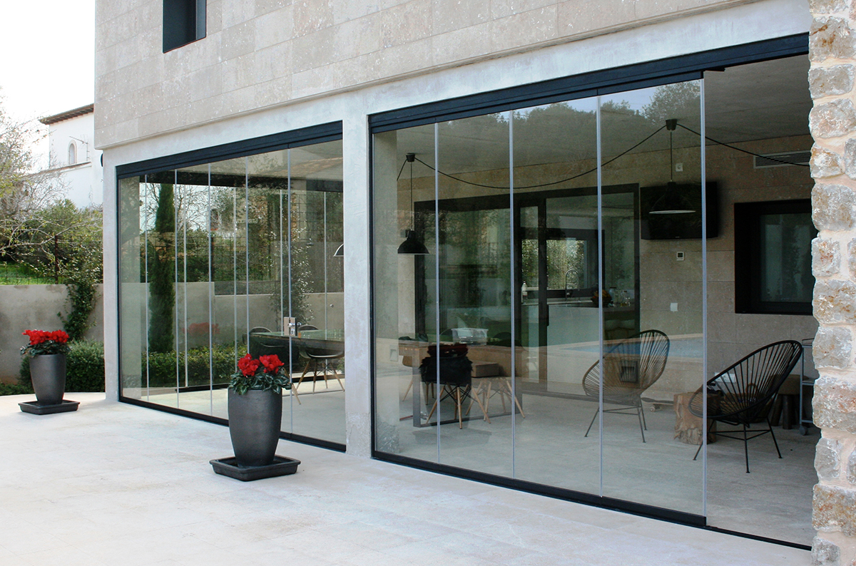 Rideau de verre acristalia emmanuelli cma - Veranda ouverture totale ...